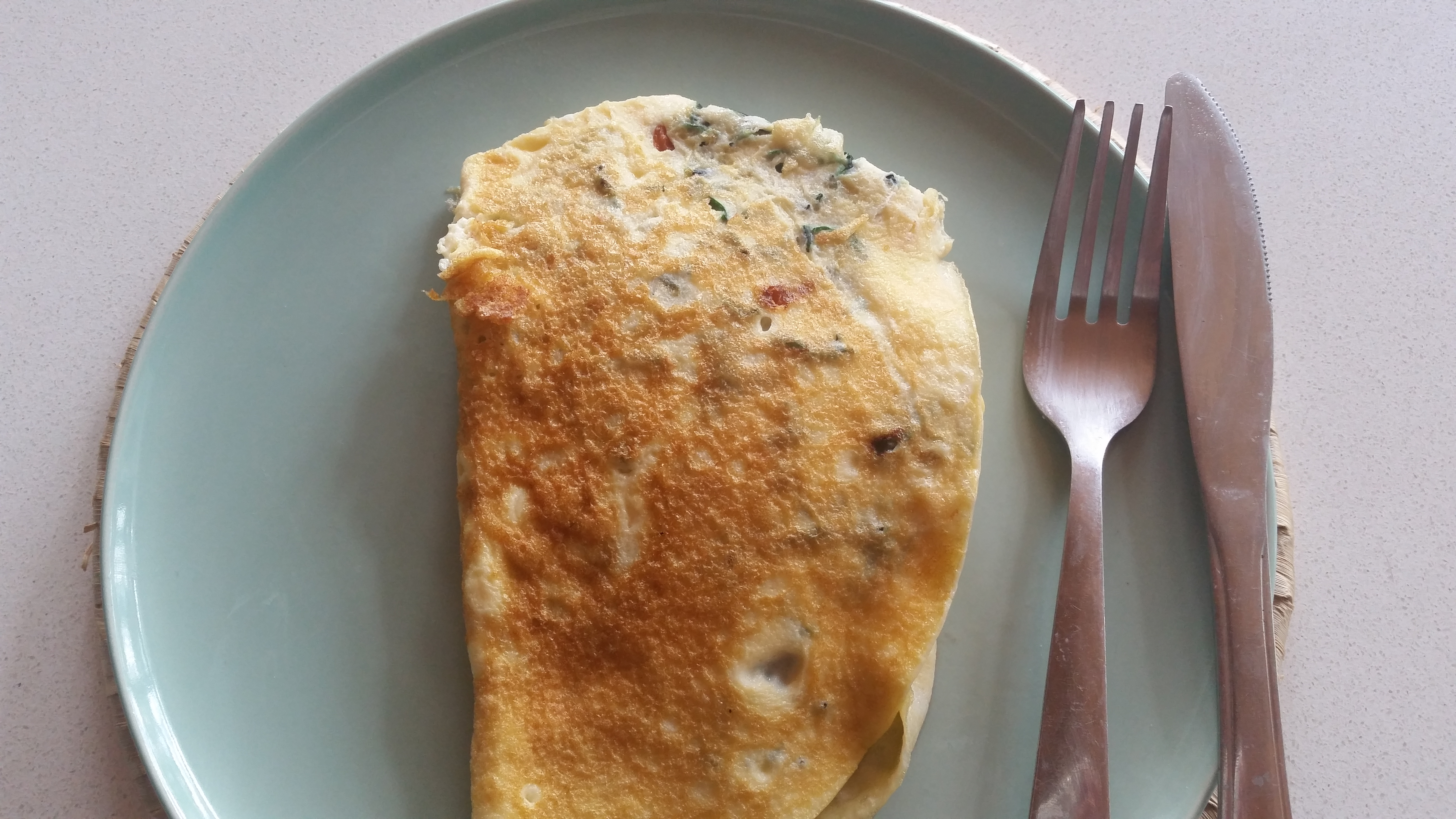 Red Kale and Tomato Omelette Low Carb Breakfast Perfect for Weight Loss