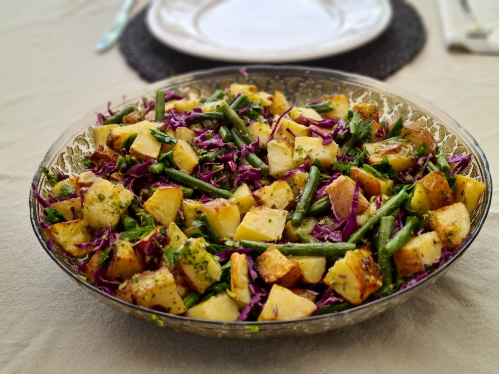 Potato salad with beans and cabbages soulful fitness