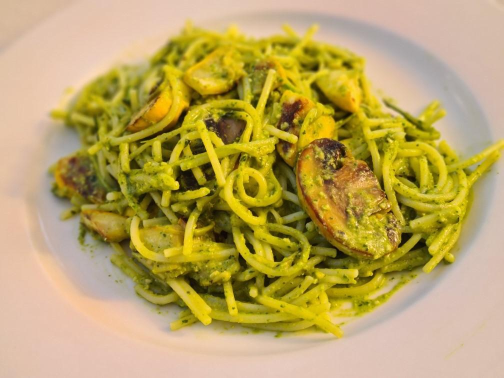 Pesto Zucchini Pasta with Goats Cheese