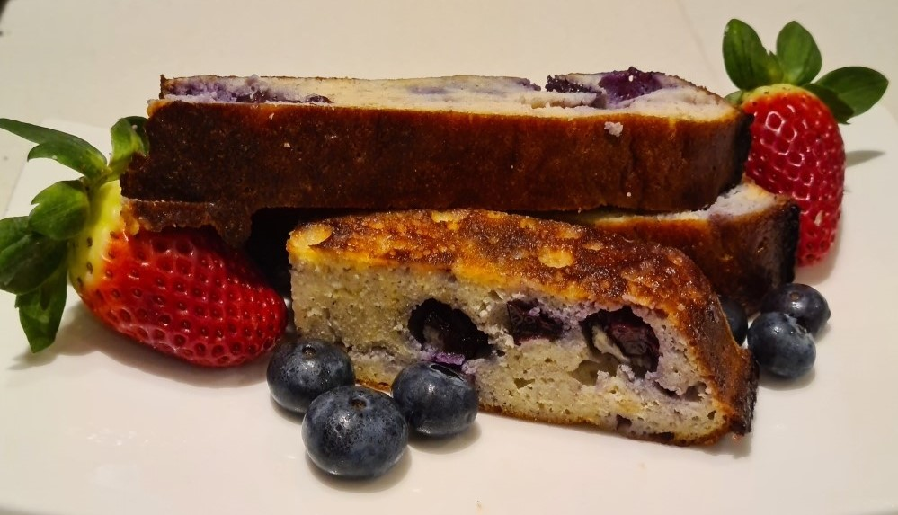 Paleo Bread with Blueberries and Bananas